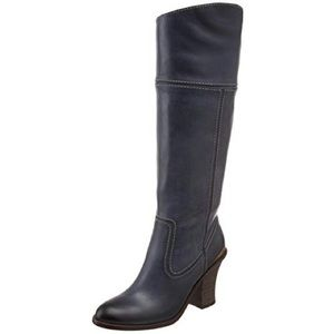 Lucky Brand💕Elena Black Leather Western Heel Boot